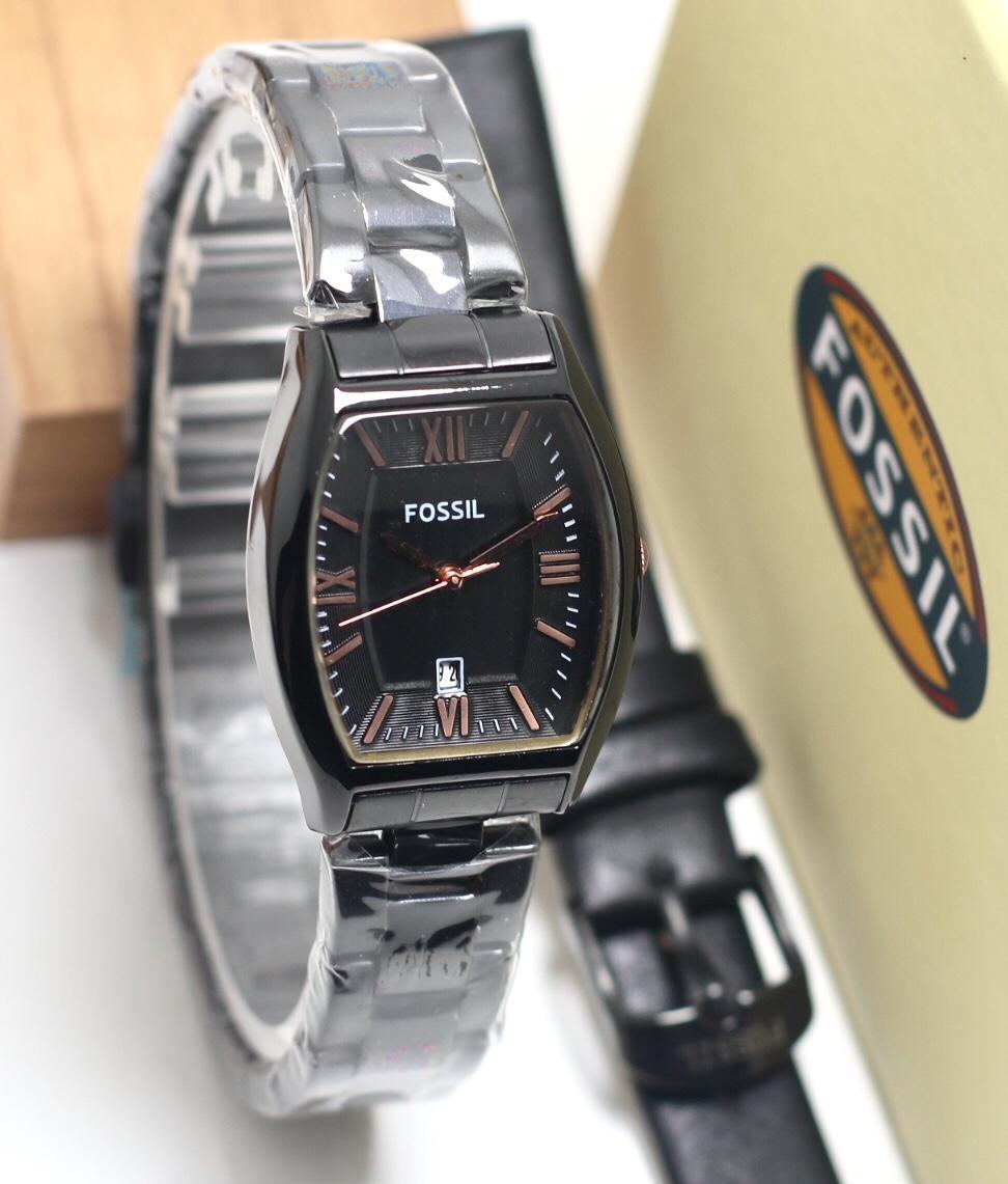Jam tangan Fossil bonus Jam tangan wanita Tali cadangan dan box-Stainlees steel Fitur Tanggal aktif best seller