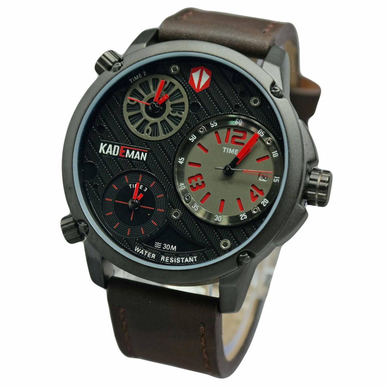 Kademan D48H170KD3001CKTTMR Triple Time Leather Strap Jam Tangan Pria Coklat Tua Merah