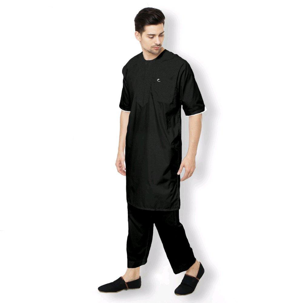 SETELAN ARABI Pakaian Muslim Gamis Pria Lengan Pendek Al-Isra