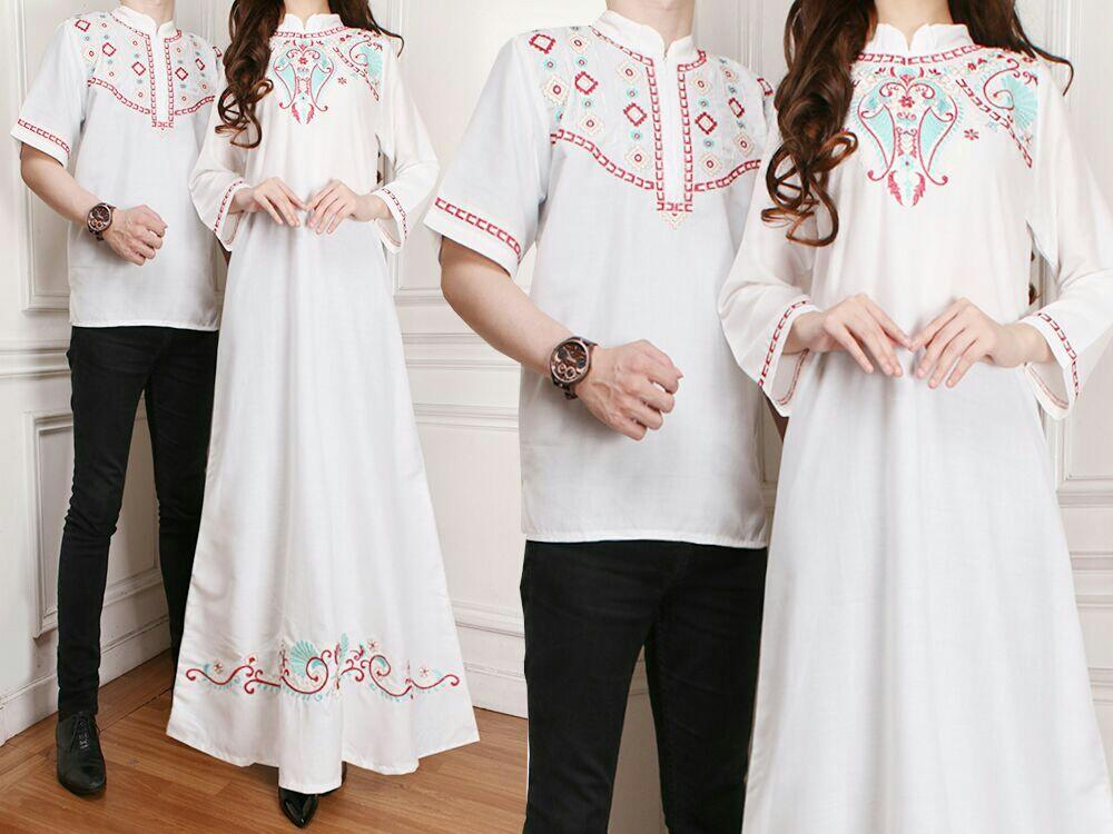 Ladies Fashion Batik Couple / Kemeja Muslim / Gaun Dress Maxi Muslim / Gamis Syari Syar'i pasangan (AkinahSH) - Putih
