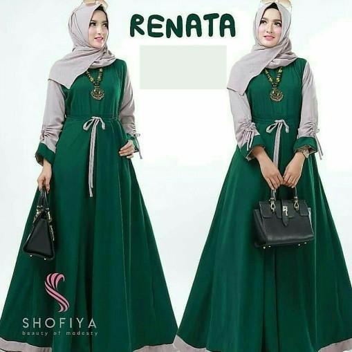 Gamis Syari Baju Gamis Muslimah / Maci Long Dress Renata Hijau Botol
