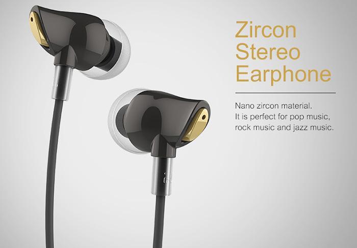 Rock Zircon Stereo Earphone Headphone Headset With Microphone Bahan Nano Hi-Fi  3.5mm Audio Input HD Tone  Volume Control