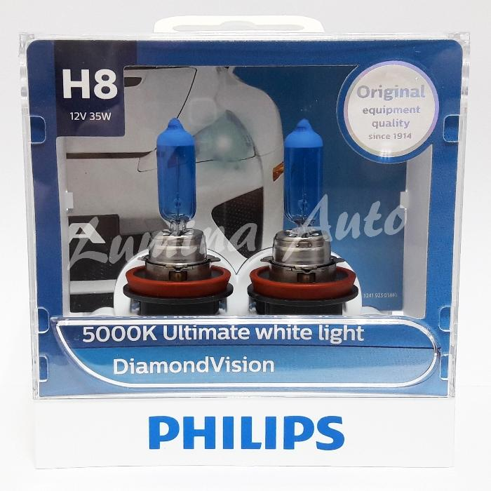 Philips Diamond Vision H8 35 Watt - Lampu Mobil Foglamp Warna Putih 5000K ( White )