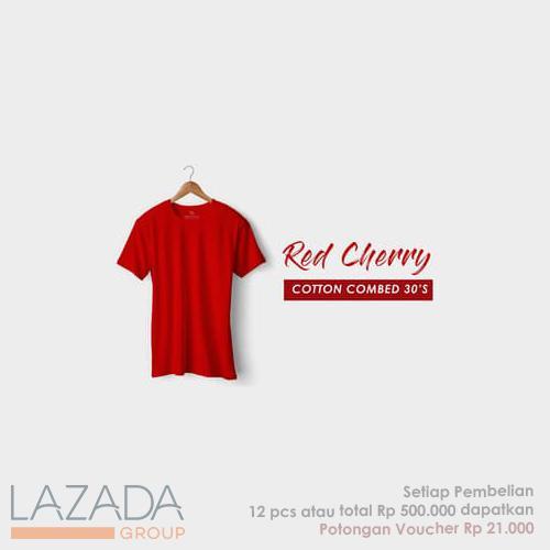 Kaos Polos Red Cherry Fashion-able Label [PREMIUM QUALITY]