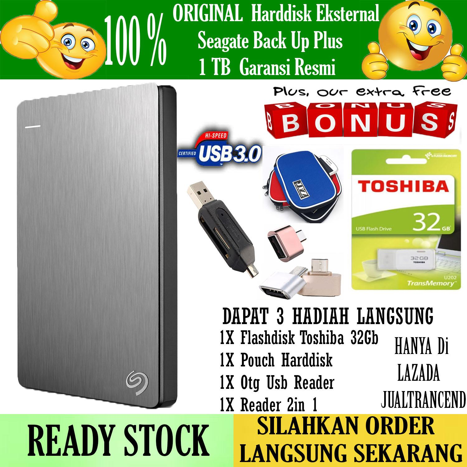 Seagate Backup Plus Slim 1TB - HDD - HD - Hardisk External 2.5 - Silver + Gratis  Flashdisk Toshiba 32Gb  + Pouch Harddisk + Reader 2In 1 + Usb Otg