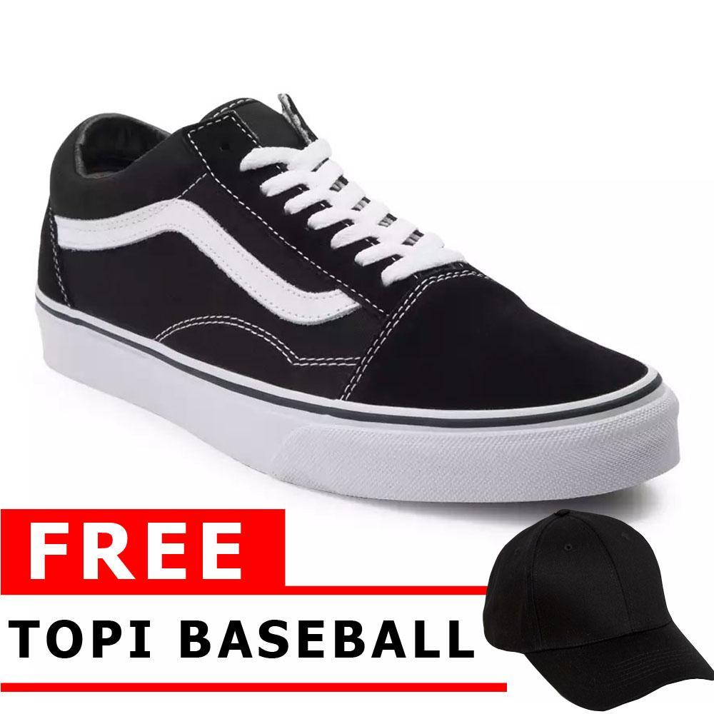 Just Cloth Sepatu Sekolah Casual Vans Old Skool Sneakers Pria Wanita Unisex + Free Topi Baseball Hitam