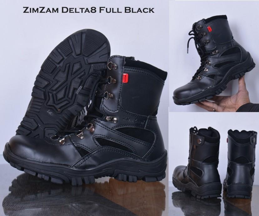Promo sepatu pria zim zam delta boots safety hitam sleting original Diskon