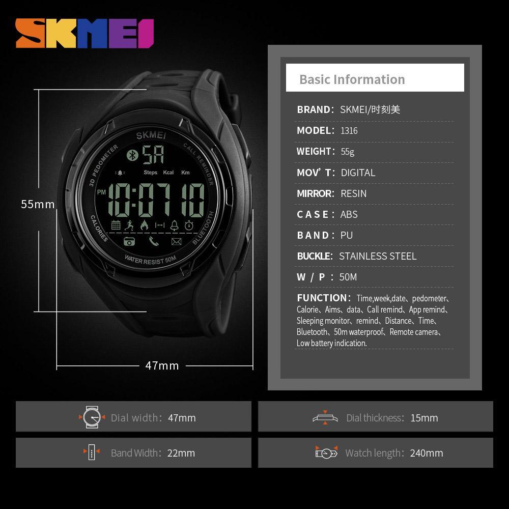 ... Dg1245 Bl Black Blue; Page - 3. SKMEI Jam Tangan Olahraga Smartwatch Bluetooth 1316 3