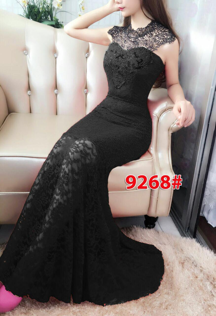 9268#baju pesta import  / gaun pesta import / baju pesta brokat / longdress fashion / longdress bekles