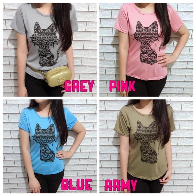 Damai fashion jakarta - baju atasan tumblr wanita TRIBAL CAT 4 warna - konveksi murah tanah abang