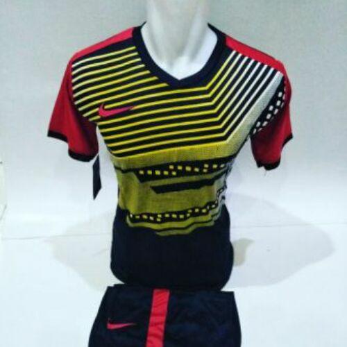 Baju Kaos Olahraga Jersey Setelan Bola Futsal/Volly NK 15 Hitam Merah