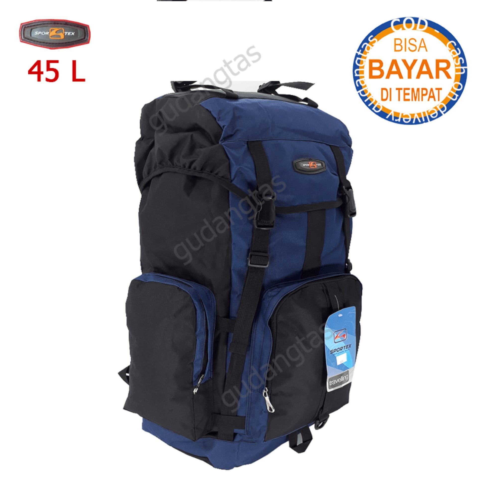 Sportex Tas Gunung Tas Keril Tas Carrier Tas Camping Tas Hiking 45L 04YY40L Dongker kombinasi Hitam