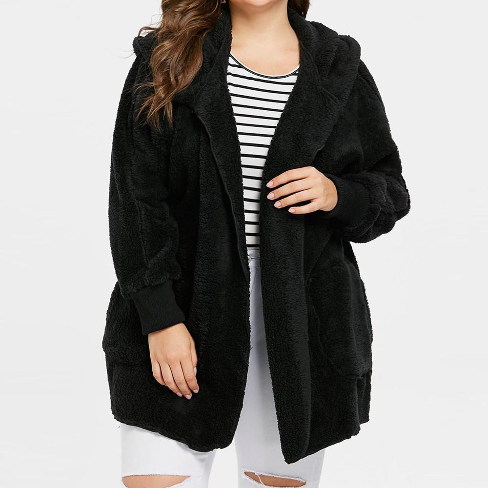 03b54ddd20a8 Aiipstore Women Fashion Lady Plus Size Solid Casual Long Sleeve Warm Coat  Blouse Out Wear