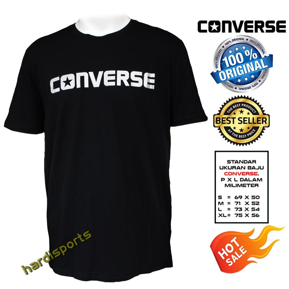 Kaos Pria T-Shirt (Cotton) Converse Core Wordmark Tee (M) BL MT2087001 - Black Silver