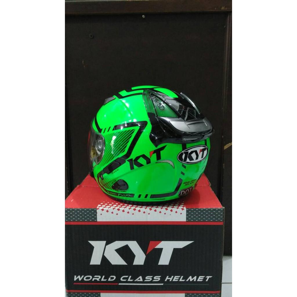 Helm KYT Galaxy Slide Green Fluo Half Face Motif Hijau Flou