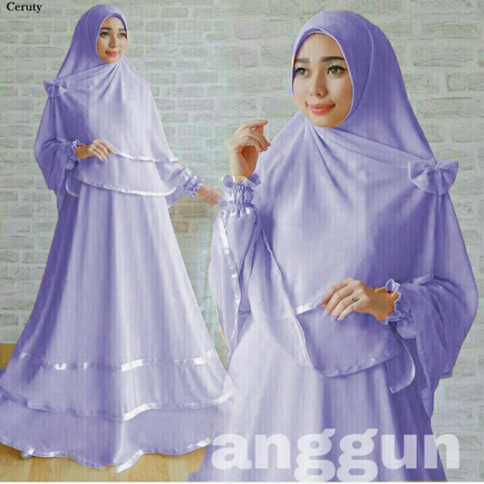 ANGGUN Dress Gamis SYARI MAXI MUSLIM Wanita Dress Jumpsuit lebaran Muslimin 1 Set Kerudung