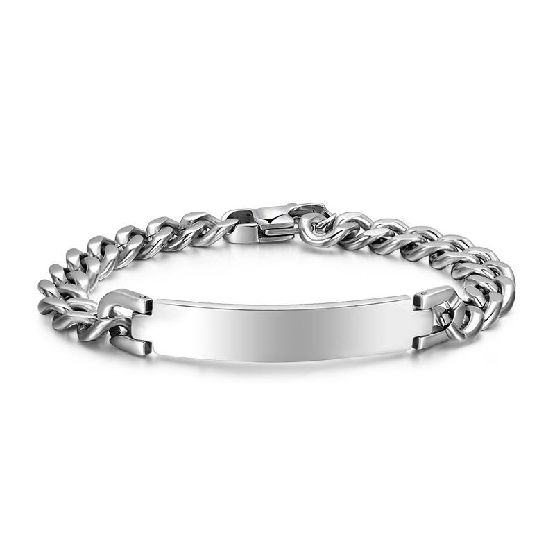 Kemstone Simple Silver Plated Mens Titanium Steel Chain Bracelet By Kemstone Jewelry.