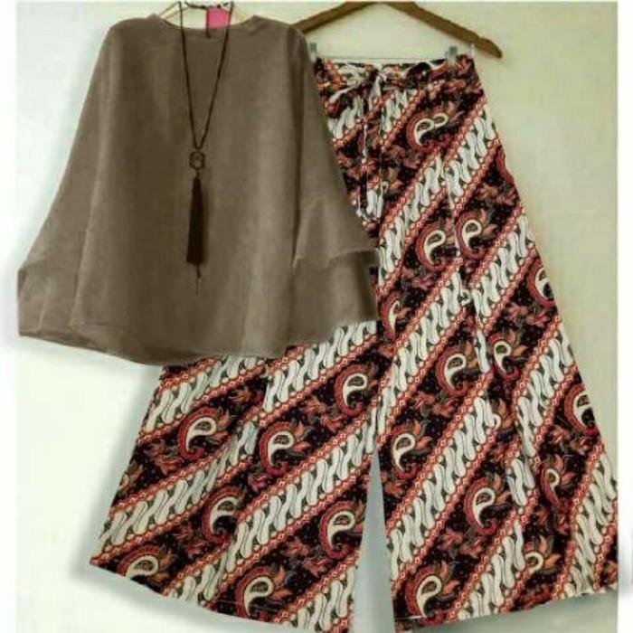 (JNH Shop)  Setelan Blouse Baloteli Coco Xl Celana Kulot Batik Coklat Modern 10 TA