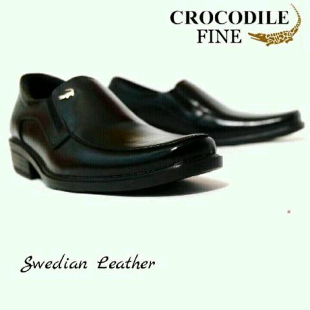 Promo CROCODILE Pantofel Black Hitam- Sepatu kerja dan formal Pria - Murah Diskon