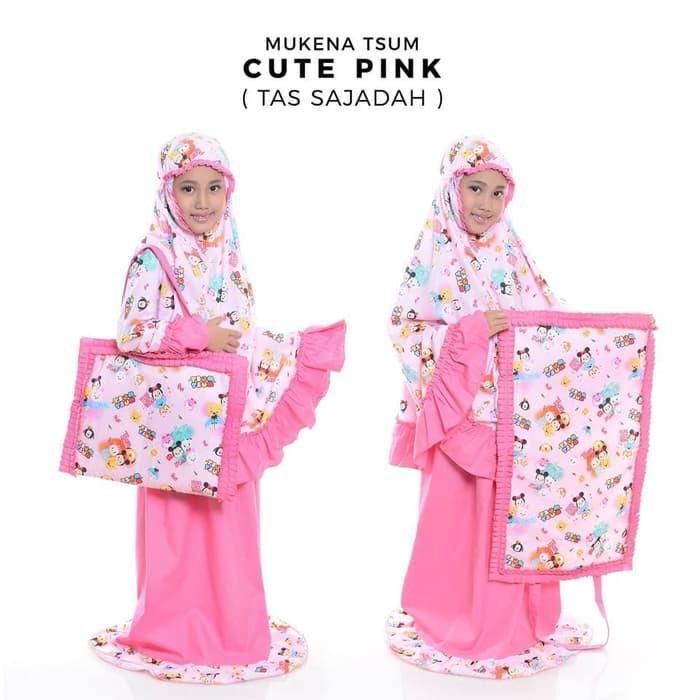 Mukena Anak Disney Tsum Tsum Cute Pink Tas Sajadah Cantik Lucu Size XS - XXL Usia 2 - 13 Tahun SIZE S