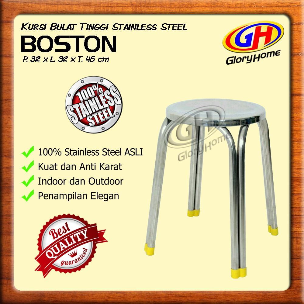 Kursi Baso Stainless Steel Bulat / Kursi Santai Minimalis / Tanpa Sandaran / Bukan Plastik