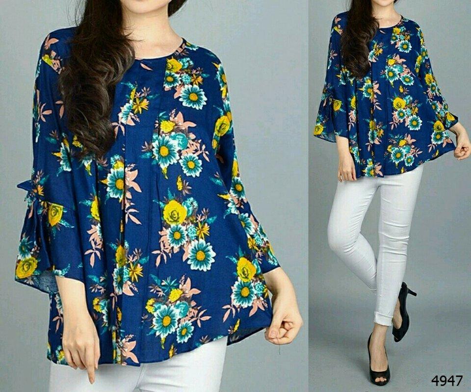 legiONshop-blouse wanita | blouse ukuran besar | baju cewek | blouse jumbo | pakaian ukuran jumbo FLOWMER (size XXXL)