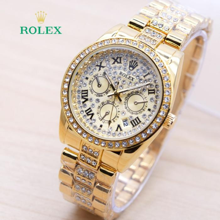 Jam Tangan Wanita / Cewek Murah Rolex Romawi Diamond Rantai Full Gold