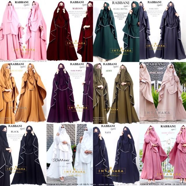 rabbani syari set gamis dress busui khimar intanka drak dusty