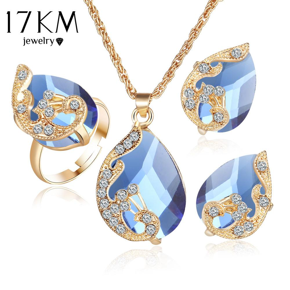 007a92761 17KM Fashion Romantic 5 Color Crystal Peacock Necklace Earrings Ring Set  Women s Statement Jewelry Set