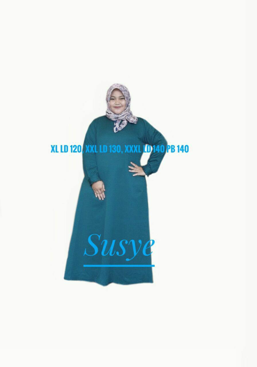 SUSYE Baju Gamis Wanita Jumbo Hijau Botol