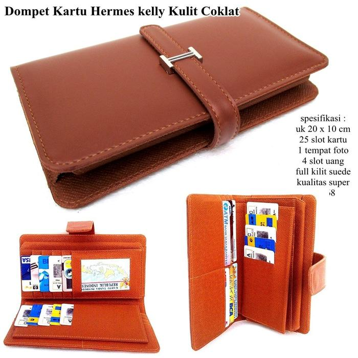 DOMPET WANITA SCO SHOPPING CARD HERMES KELLY CARD LEATHER SOFT COKLAT - p5rm01