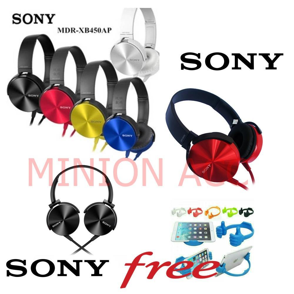 SONY Audio On-Ear Headphone DJ Super Bass MDR-XB450AP ORI Free Universal OK stand Dududkan HP Warna Random