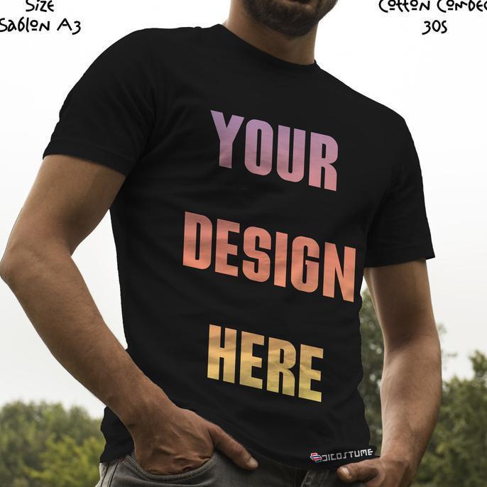 Kaos Satuan Sablon Print Dtg Desain Sendiri A3 Kaos Warna - P6nugd