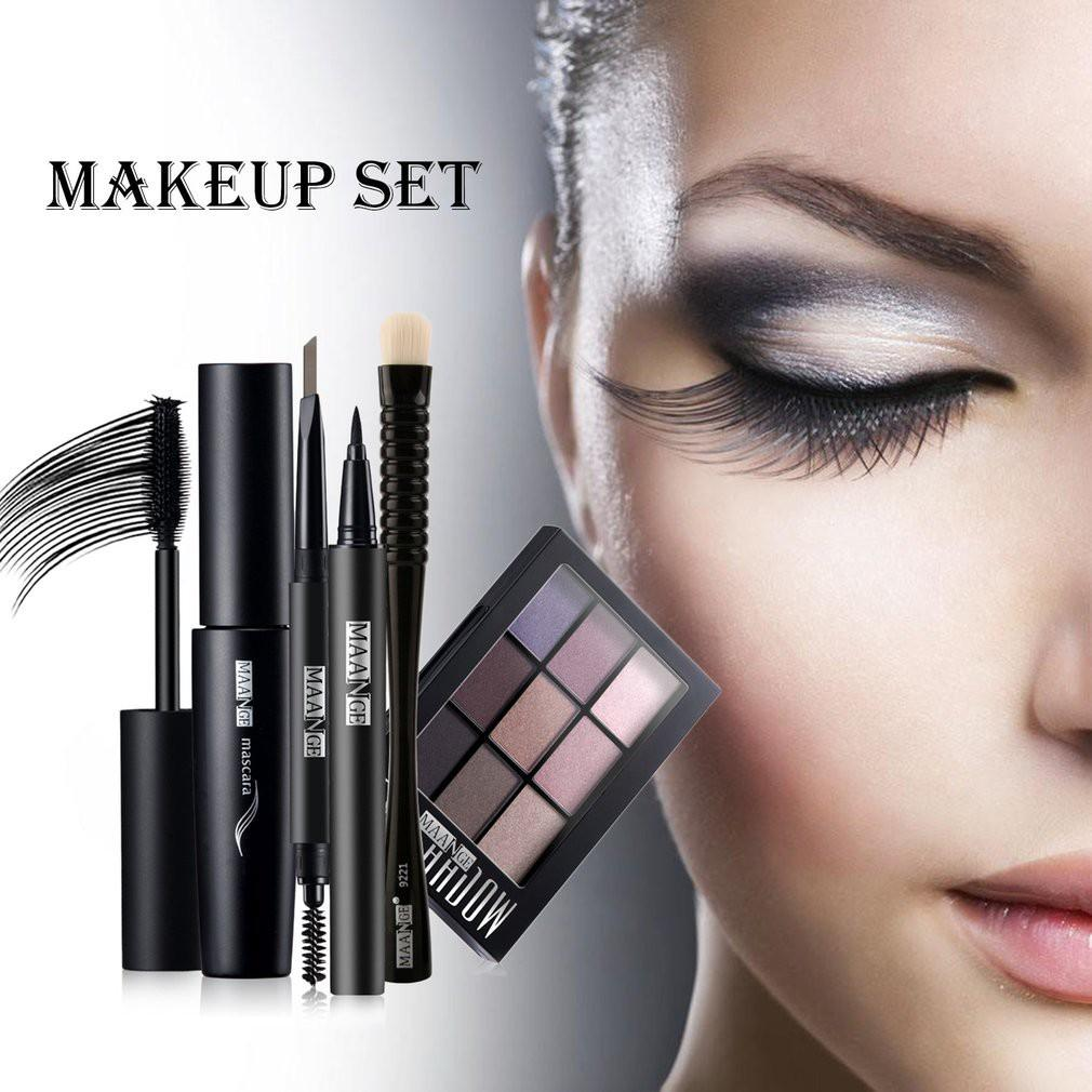 MAANGE 5Pcs/Set Palet Eyeshadow/Eyeliner/Maskara/Brush/Pensil Alis Untuk Makeup