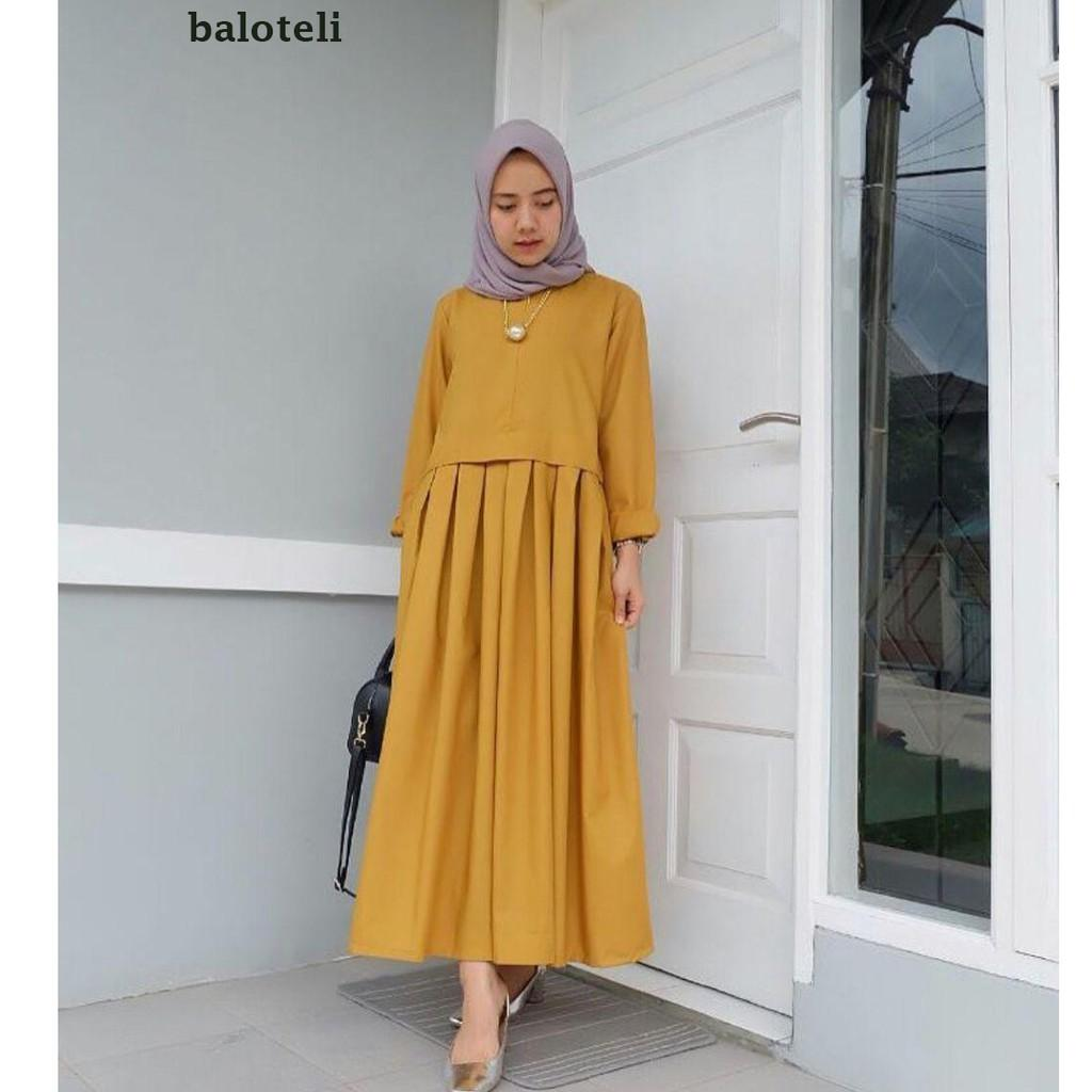 Rania Dress / Gamis Ibu Menyusui / Maxy Fashion Murah Wanita Pakaian Online Grosir Baju HIJAB Yellow