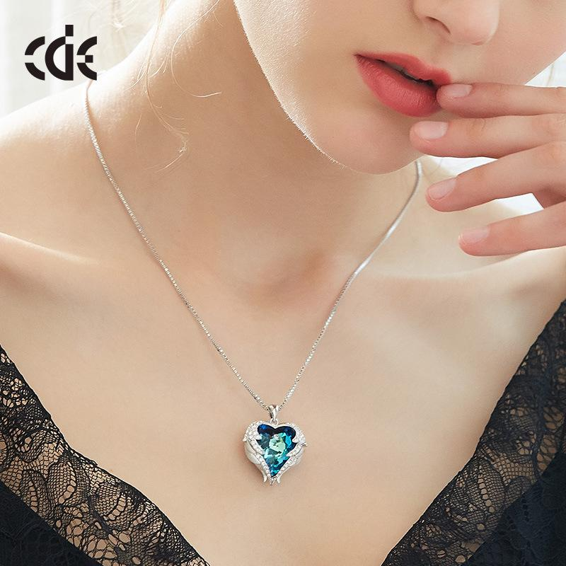 Cdyle P0902 Blue Light Series Fashion Peach Heart Crystal Sterling Silver S925 Pendant .