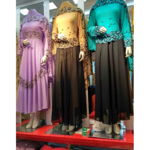 Realpict Dress Pesta Muslimah / Dress Akad Nikah Bahan Ceruty Payet