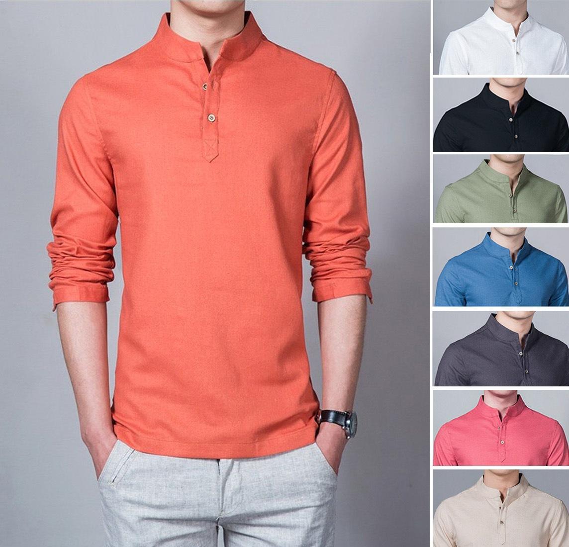 Baju Kemeja Koko Shaquile Orange Polos. Kemeja Muslim Pria Simple Nyaman Di Pakai. Promo