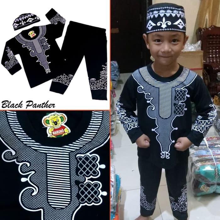 Baju Koko BLACK PANTHER Pakaian Muslim Anak Laki Premium Mewah MARUNO - II-IV Tahun