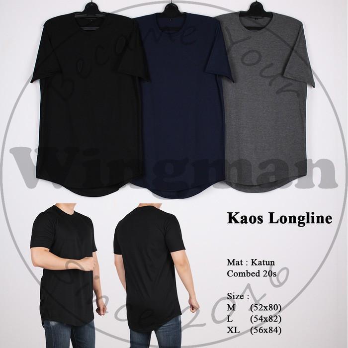 Kaos Longline Polos Pria Lengan Pendek 3 Warna - 2Be2j3