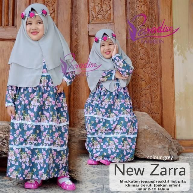 Baju gamis anak katun jepang new zarra kids (untuk anak dari usia 1-12th) plus jilbab&free bandana Size M (usia 3-5th)