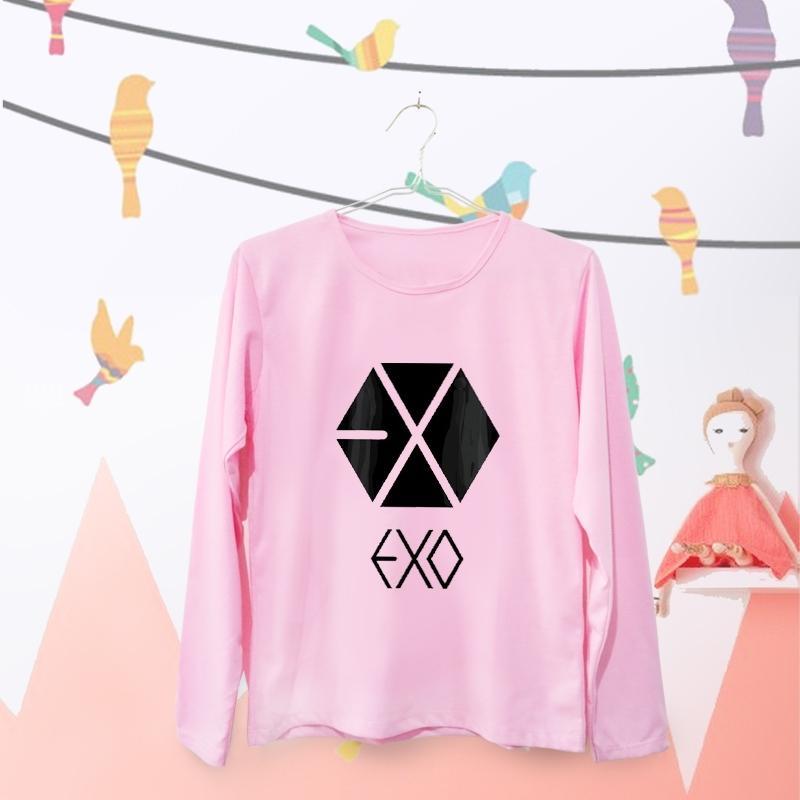 ELLIPSES.INC Tumblr Tee / T-Shirt / Kaos Wanita Exo Logo- Pink Lengan Panjang