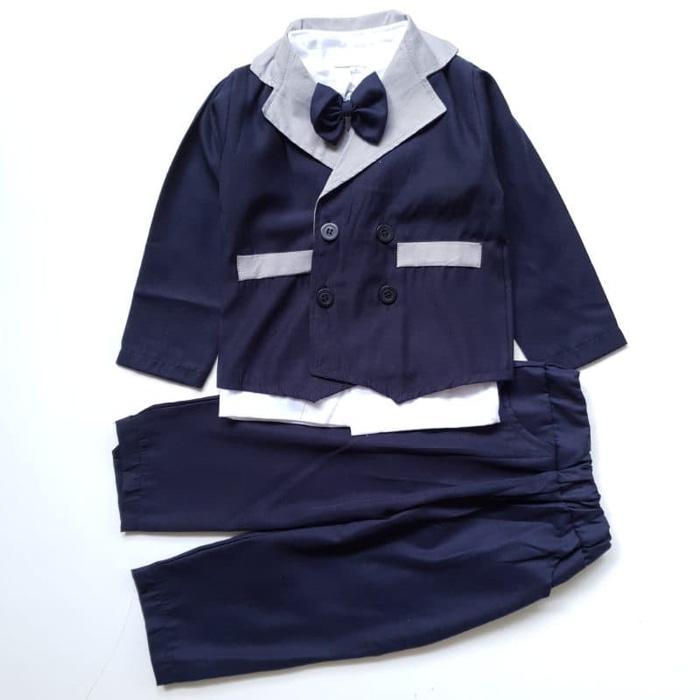 New  Baju Setelan Pesta Anak Bayi Laki Jas Tuxedo Panjang Katun Twill