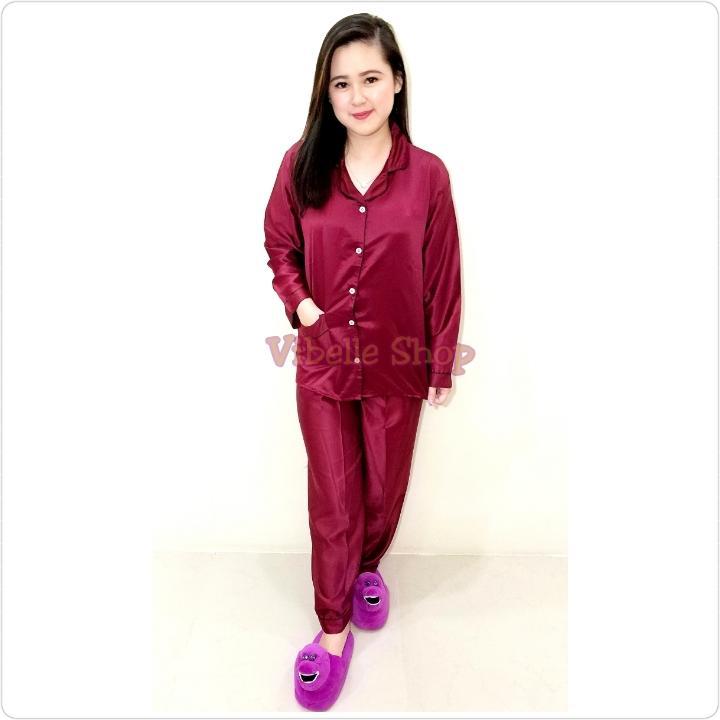 SATINPP - MARUN - Satin Silky Velvet Vibelle shop grosir baju tidur piyama fashion murah wanita