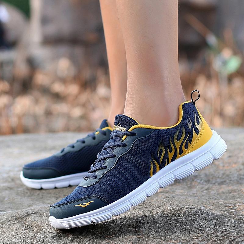 DANJI Sepatu Lari Pria Sneakers Casual Athletic Sepatu Pria Olahraga Sepatu Sejuk Biru-Internasional