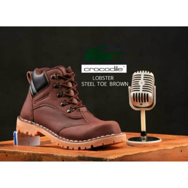 Sepatu Boots Crocodile Lobster Safety Murah Pria Boot Kulit Sol Karet