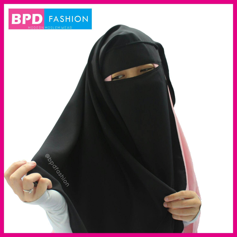 BPD Cadar Niqab Niqob Purdah Yaman 2 Layer Kotak Wolfis Wolpeach Premium