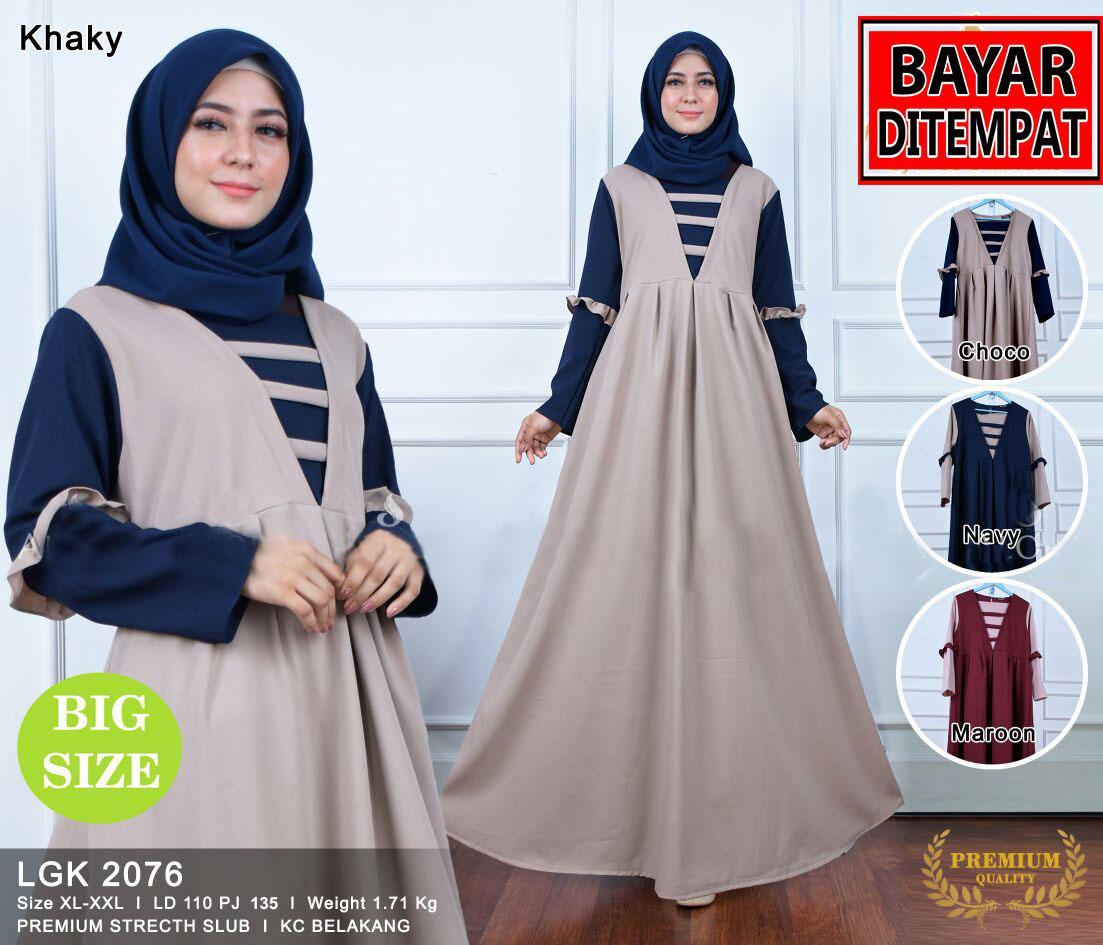 RATU SHOPPING Baju muslim wanita baju gamis trendy promo gamis lebaran promo ramadhan jumbo size elegant real picture lgk2076