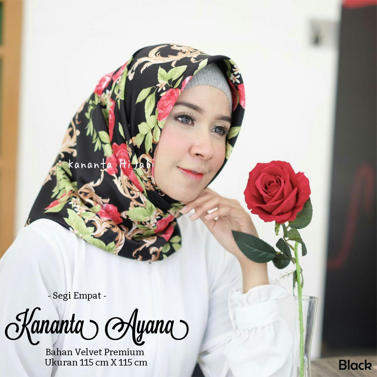 Kananta Hijab Segi Empat Motif/ Jilbab Segi Empat Motif / Kerudung Segi Empat Motif / Hijab Motif Bunga Kain Velvet Premium Maxmara Square KANANTA AYANA