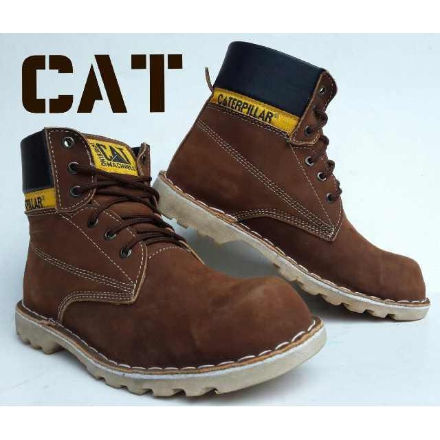 Promo Termurah Sepatu Caterpillar Safety Warna Coklat Bahan Kulit Asli Gratis Ongkir